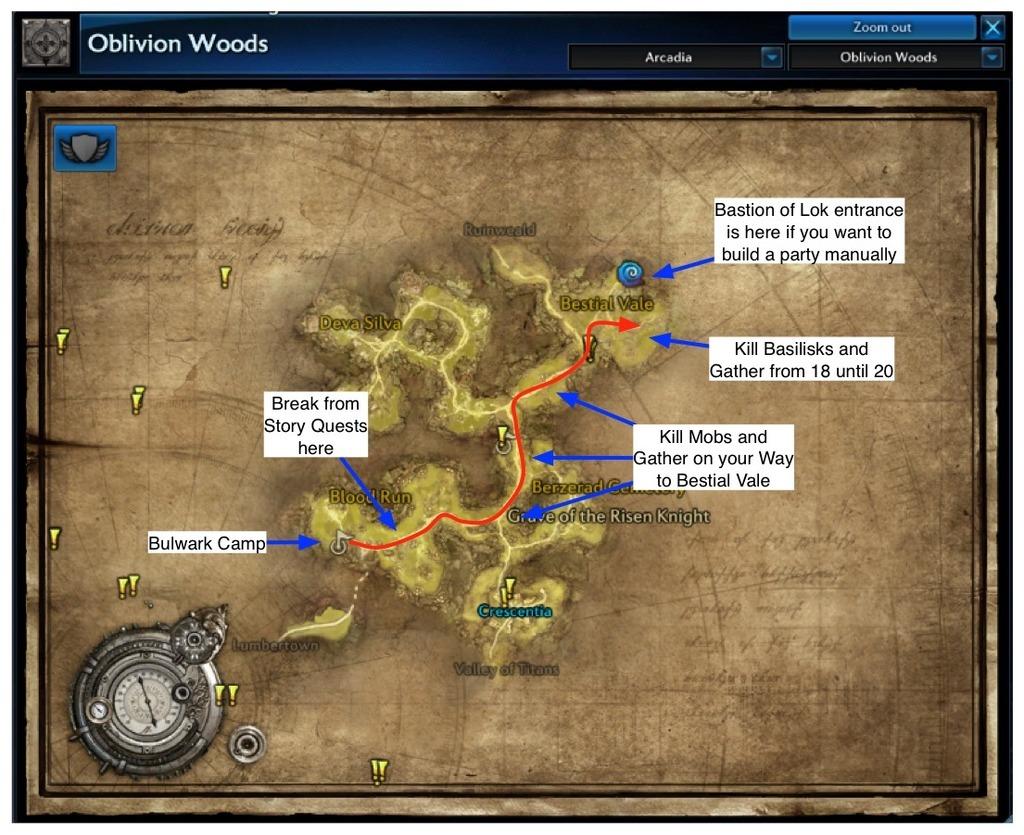 Power Leveling Map for Oblivion Woods v2