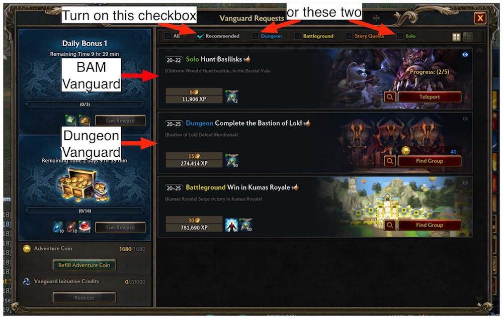 Explanation image for how to use the vanguard request window.
