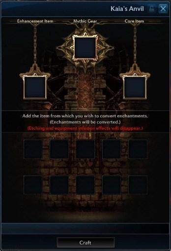 mythic gear crafting menu, mythic gear, kaia's anvil
